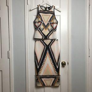Massimo multicolor printed skirt set sz S